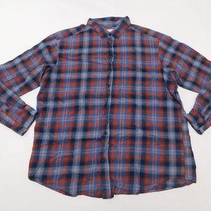 Columbia XL Blue Orange Button Down Shirt  Cotton
